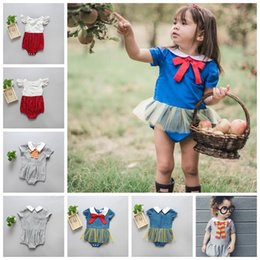 Wholesale wholesale baby lace bodysuits - summer rompers baby girls backout seersucker lace rompers cute baby one-piece jumpers toddler child infant INS jumpsuits kids bodysuits