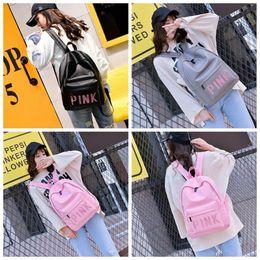 Wholesale Backpack Teenagers - Pink Sequins Backpack Pink Letter PU Backpacks 3 Colors Waterproof Travel Bags Teenager School Bags OOA3000