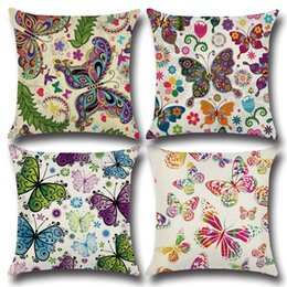 Wholesale Cute Sofa Set - Woven linen cotton cushion cover sofa summer style car office home decorative throw pillow case cover butterfly pillowcase Cute Sets