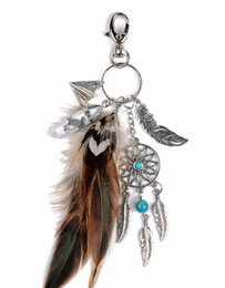 Wholesale Rhinestones For Cars - 2017 Natural Turquoise Keyring Dreamcatcher Feather Tassel Keychain Charming Silver Keyring For Women Jewelry Gift B937L