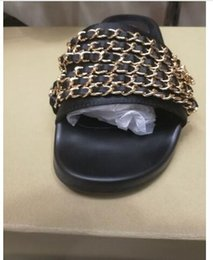 Wholesale Red Sexy Sandals - women slipper metal chain sandal summer sexy womens sandals luxury slippers famous beach women shoes