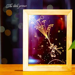 Wholesale Wood Photo Frames Wholesale - 3D Night Lamp The Little Prince Frame Led Wood Photo Night light Warm Bedroom Desk Lamps Birthday Gift for Children