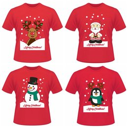 Wholesale penguin girl - Christmas Funny Short T-shirts Santa Claus Elk Penguin Summer Short Sleeve Printed Tops Tee Shirts 4 Styles LJJO3637