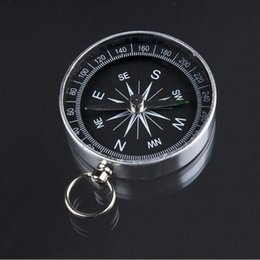 Wholesale Pocket Compass Aluminum - Metal Aluminum Mini Pocket North Compass for Camping Hiking Hiker Outdoor Sports Navigation Navigator Silver 44mm