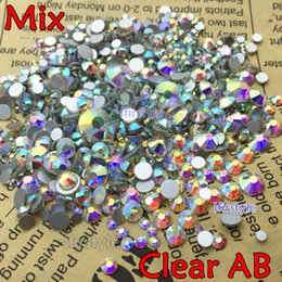 Wholesale Hot Fix Rhinestones Mixed Sizes - Wholesale- 3D Glitter Nail Art Decoration Mix Size (ss3-ss50) super Shiny Crystal Clear AB Color Flatback Non Hot Fix Rhinestone
