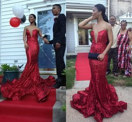Wholesale Design For Girl Dresses - New Design Long Mermaid Sequined Red Prom Dresses Long 2017 For Black Girl Strapless Backless Sweep Train Evening Party Dresses Custom Made
