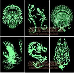 Wholesale Tattoo Arm Dragons - Wholesale- 6pcs lot Glow in the dark flash Tattoos Stickers sheets Pirate Wolf Dragon tribal skull glowing fake tatoo fluorescent arm men