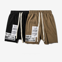 Wholesale Cuts Clothing - 2017 Trendy Card Street Patch Building Printing Burr Cut Mouth Short Pants Men's Casual Shorts Hip Hop Brand-clothing