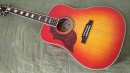 Wholesale Acoustic Left Handed - NEW 2017 left-handed acoustic Guitar lefty cherry sunburst solid spruce top side acoustic guitar