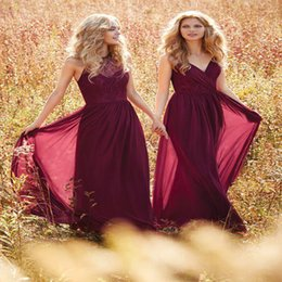 Wholesale Western Dress Up - Burgundy Bridesmaid Dresses Halter V Neck Prom Dress Long Evening Gowns boho wedding dress Country Western Wedding vestido longo Custom Mad