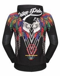 Wholesale Mens Hooded Cardigans - 2017 Hot Sell Men's QP Jacket Length Sleeve Hoodies Sweatshirts Skull Print Hoody Hooded Mens Zipper Diamond Outwear 18603