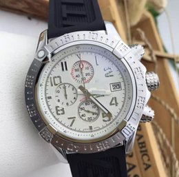 Wholesale Watch Numbers Face - New Unworn luxury Top Quality Super Avenger White Face Arabic Number Pro II Stainless steel Bracelet Men's Wristwatches Quartz Mens Watch