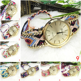 Wholesale Chinese Watches - Chinese wind watch GENEVA retro watch Braid watch Leisure pointer National wind Buckle multiple Colour fiery Round