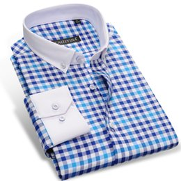 Wholesale Fitted Button Down Shirts - Wholesale- CAIZIYIJIA 2017 Men's Long Sleeve Contrast Plaid Checked Shirts With White Square Collar Casual Slim-fit Button-Down Dress Shirt