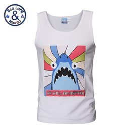 Wholesale Shirt 3d Shark - 2017 summer 3d print cotton made blue shark printed singlets basketball singlets white color cute running gym singlet t-shirt
