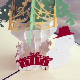Wholesale Cards For Wishing Tree - (10 pieces lot)Free Shipping Merry Christmas Tree & Snowman 3D Paper Cut Handmade Greeting Cards For Christmas Gifts Event Party Supplies