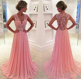 Wholesale Girls Coral Chiffon Dresses - cheap evening dresses A-line sexy v-neck appliqued backless hollow ruched sleeveless sweep train beach dress for girls party dress