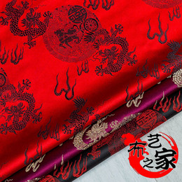 Wholesale Damask Satin - 35 imitation silk dragon brocade silk fabric by antique mahogany furniture cloth cheongsam costume fabric