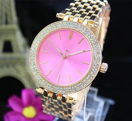 Wholesale Pink Rose Brand Dress - Ultra thin rose gold woman diamond flower watches 2017 brand luxury nurse ladies dresses female Folding buckle wristwatch gifts for girls