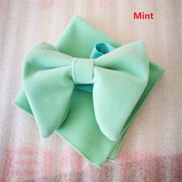 Wholesale Mint Tie - Mint Velvet Bowties with Matching hankie Mens Unique Tuxedo Velvet Bowtie Bow Tie Hankie Set Necktie Set