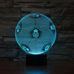 Wholesale Emergency Light Free Shipping - Free Shipping 3D LED Night Light Real Madrid Club Football Color Changable