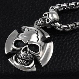 Wholesale Skull Necklace Men - Fashion Top Quality Silver Skull Cross For Choose Stainless Steel Pendant Necklace For Men Perfect Gifts