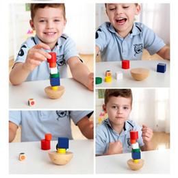 Wholesale Montessori Educational - Children Toys Wooden Geometric Blocks Kids Balancing Training Game Montessori Early Educational IntelligenceToy Children Family Game Blocks