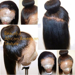 Wholesale Glueless Remy Yaki Wigs - light yaki African American Wig Glueless Malaysian Virgin Remy Human Hair yaki straight Full Lace Wigs For Black Women