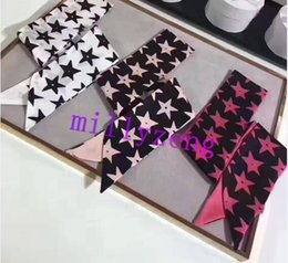 Wholesale Ladies Silk White Tops - Top Grade Fashion Designer Long Style Ribbon Stars Twill Silk Twilly Lady Bandeau Three Colors