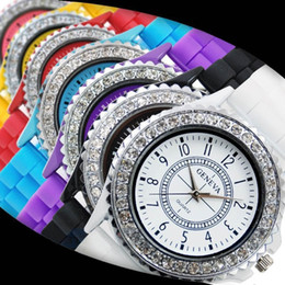 Wholesale Geneva Girl Watches - 100pcs Hot Sale New Arrival Silicone Unisex Watches Geneva diamond silica gel rubber unisex women girl quartz watches Free Shipping