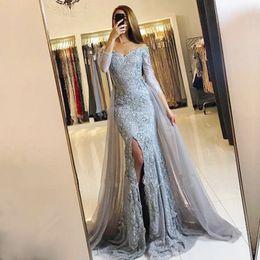 Wholesale Gorgeous Blue Prom Dresses - Gorgeous Mermaid Evening Dresses Long Off The Shoulder Prom Dress Front Split Lace Appliques 3 4 Long Sleeves Formal Dresses Evening Wear