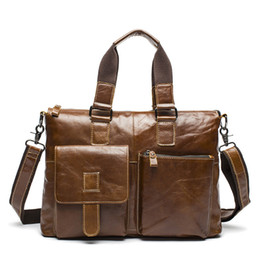 Wholesale Office Works Computers - Wholesale- Genuine Leather Briefcase Document Men Leather Laptop Bag Male Business Office Work Bag Brief Attache Case portadocumentos