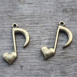 Wholesale Note Bronze Antique - 25pcs--Music Charms, Antique bronze musical note with Adorable Heart charm pendant, Hearts charm 26x16mm