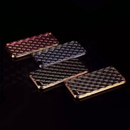 Wholesale Silm Phone - Sheep Bling Diamond Metallic Chromed Soft TPU Silicon Case Checkered Square Plating Silm Gel Skin For Universal Smart phone