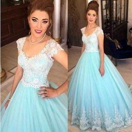 Wholesale Formal List - 2017 New Listing Baby Blue Lace Cap Sleeves Long Evening Dress 2017 Princess Tulle Formal Ball Dress