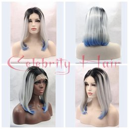 Wholesale Blue Gray Wig - Short BOB Cosplay wigs 3 Tones Silver grey Synthetic Lace Front Wig Black Gray white Blue Ombre Straight wig Heat Resistant Hair