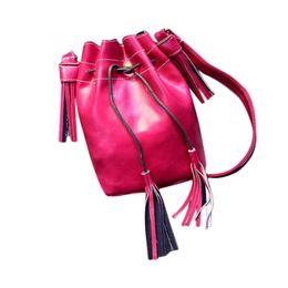 Wholesale Leather Drawstring Purse - Wholesale-2016 New Women Shoulder Bag Tassel Messenger Bag Purse Satchel Drawstring Bucket Bag High Quality PU Leather Handbag
