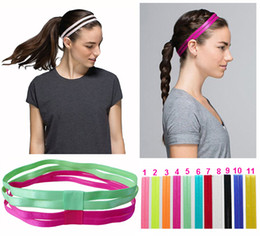 Wholesale Wholesale Black Head Bands - Double Sports Elastic Headband Softball Yoga Anti-slip Silicone Rubber Hair Bands Bandage On Head For Hair Scrunchy