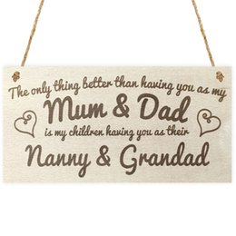 Wholesale D Signed - Wood Chalkboard Sign - The only thing better than having you as my Mum & Dad is my children having you as their Nanny & Grandad