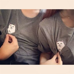 Wholesale pocket t - New Fashion White Pocket Harajuku Style T Shirts Wild Cat Lovers Big Yards Women Wear Short Sleeve Casual T-Shirt