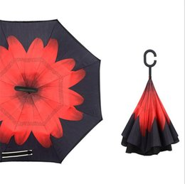 Wholesale design inside - Inverted Umbrella Double Layer Reverse Rainy Sunny Umbrella with C Handle Self Standing Inside Out Special Design