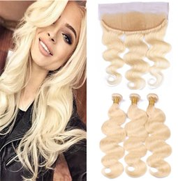 Wholesale Color 12 613 Hair - Brazilian Virgin Hair #613 Blonde Human Hair 3 Bundles With Lace Frontal Closure Bleach Blonde Body Wave Hair Weaves With 13*4 Lace Frontal