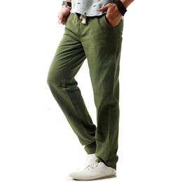 Vente en gros- Pantalon de lin occasionnels des hommes sauvages taille  élastique coton lin Long Pantalons lâches droites pantalons couleur unie  plus la ... 0b5a686adbc9