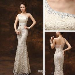Wholesale Tea Length Slim Dresses - 2017 cheap prom dresses mermaid one shoulder lace sexy long zipper slim party vintage elegant champagne evening dress for red carpet