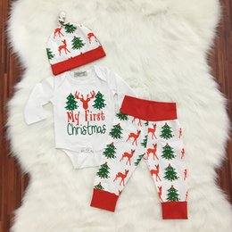 Wholesale Tights Romper Boy - baby outfit Christmas Boys Clothing Sets Xmas Tree Casual Sets Autumn Long Sleeve Romper + Tights + Caps 3pcs Suits C2073