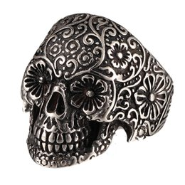 Wholesale Tattoo Rings - Black Skull Tattoo Stainless Steel Men Vintage Carved Style Punk Rock Ring