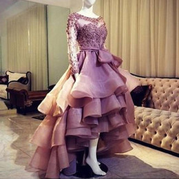 Wholesale Sweet 16 High Low Dresses - Sweet Organza High Low Ball Gown Evening Dress 2017 Lace Appliques Bow Sashes Prom Dresses Scoop Collar Sweep Train Prom Gowns