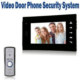 "Wholesale Video Intercom Units - 7"" LCD Wired Doorbell Video Door Phone Door   CCTV Monitor Intercom with 700 TVL IR Camera Mini Outdoor Unit -Black"