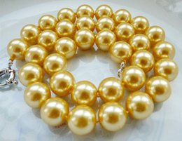 Wholesale 16mm South Sea Pearl Pendant - real huge AAA 15-16MM South Sea yellow Shell Pearl Necklace 18 Inch