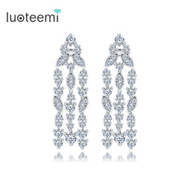 Wholesale Opal Drop Earrings - New Arrival Vintage High Quality Tassel Drop Earring For Women Luxury Jewelry CZ Crystal Long Dangle Brincos White-Gold Color LUOTEEMI